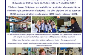 Vth Form / Lower 6th Places 2021